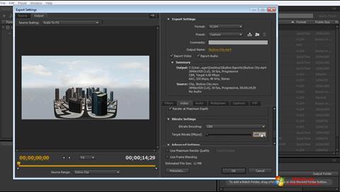 Skærmbillede Adobe Media Encoder Windows 7