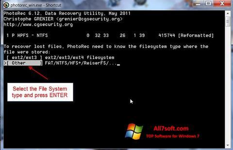 Skærmbillede PhotoRec Windows 7