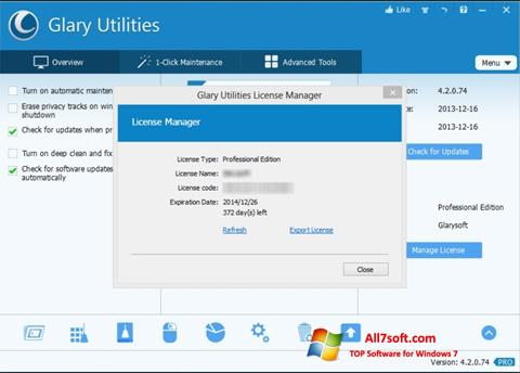 Skærmbillede Glary Utilities Windows 7