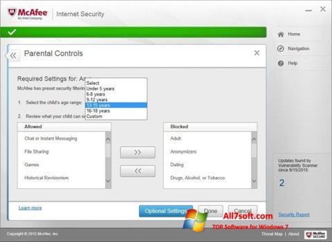 Skærmbillede McAfee Windows 7