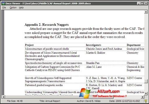 Skærmbillede DocX Viewer Windows 7