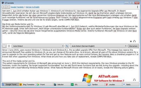 Skærmbillede QTranslate Windows 7