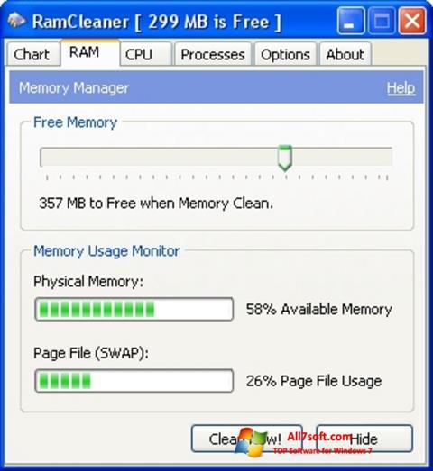Skærmbillede RamCleaner Windows 7