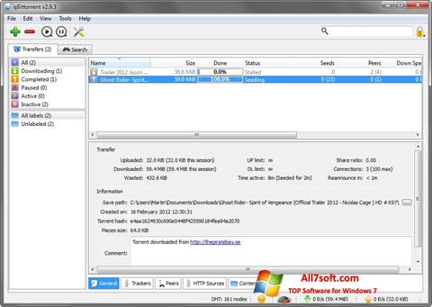 Skærmbillede qBittorrent Windows 7