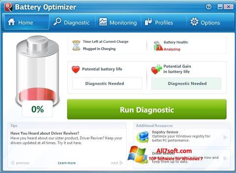 Skærmbillede Battery Optimizer Windows 7