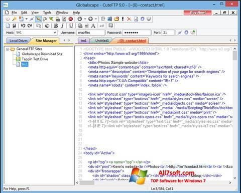 Skærmbillede CuteFTP Windows 7