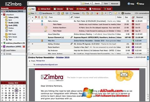 Skærmbillede Zimbra Desktop Windows 7