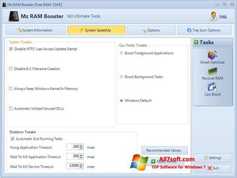 Skærmbillede Mz RAM Booster Windows 7