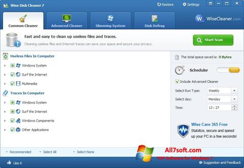 Skærmbillede Wise Disk Cleaner Windows 7