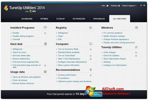 Skærmbillede TuneUp Utilities Windows 7