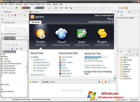 Skærmbillede Aptana Studio Windows 7