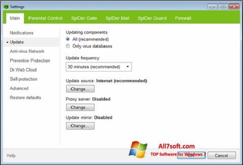 Skærmbillede Dr.Web Security Space Windows 7