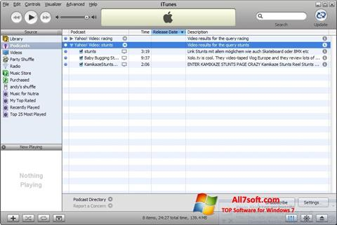 Skærmbillede iTunes Windows 7