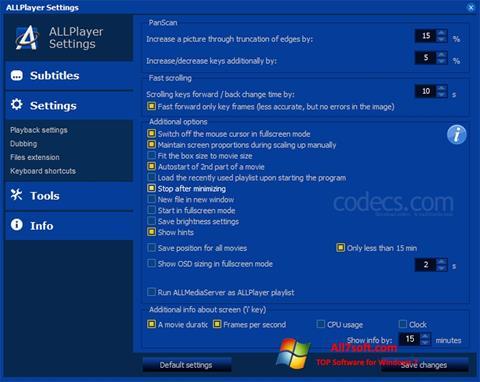 Skærmbillede ALLPlayer Windows 7