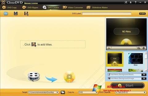 Skærmbillede CloneDVD Windows 7