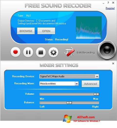 Skærmbillede Free Sound Recorder Windows 7