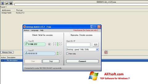 Skærmbillede Ammyy Admin Windows 7