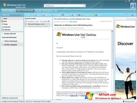 Skærmbillede Windows Live Mail Windows 7