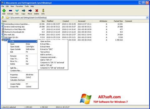 Skærmbillede 7-Zip Windows 7