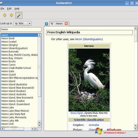 Skærmbillede GoldenDict Windows 7