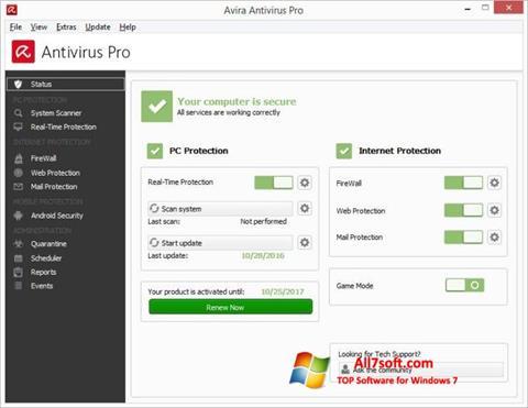 Skærmbillede Avira Antivirus Windows 7