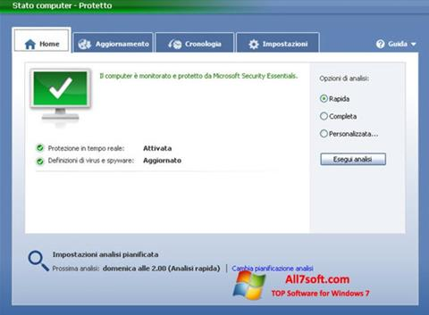 Skærmbillede Microsoft Security Essentials Windows 7