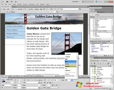 Skærmbillede Adobe Dreamweaver Windows 7