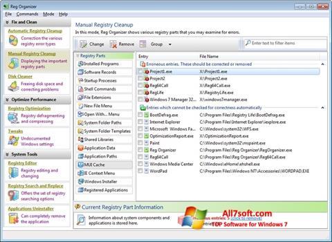 Skærmbillede Reg Organizer Windows 7