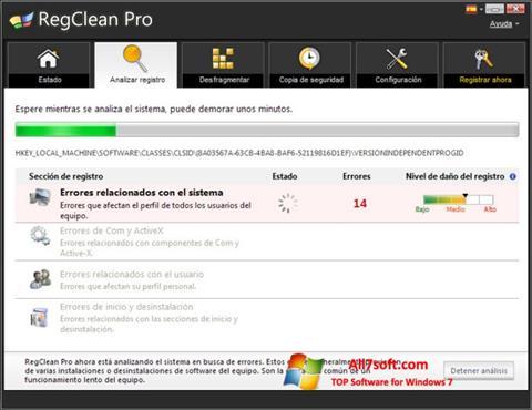 Skærmbillede RegClean Pro Windows 7
