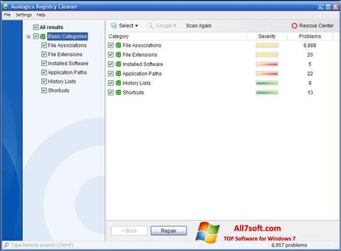 Skærmbillede Auslogics Registry Cleaner Windows 7