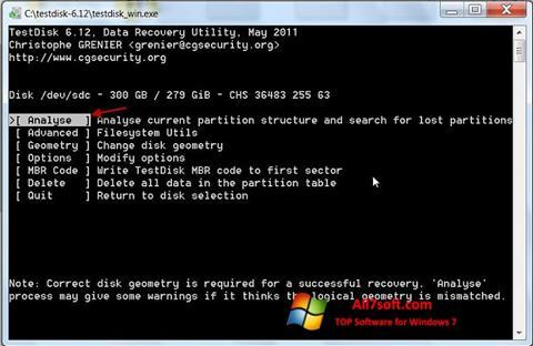 Skærmbillede TestDisk Windows 7