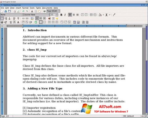 Skærmbillede AbiWord Windows 7