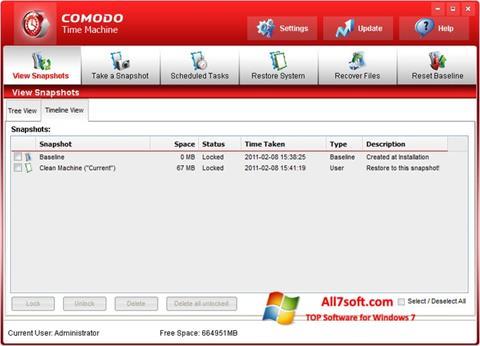 Skærmbillede Comodo Time Machine Windows 7