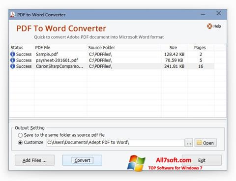 Skærmbillede PDF to Word Converter Windows 7