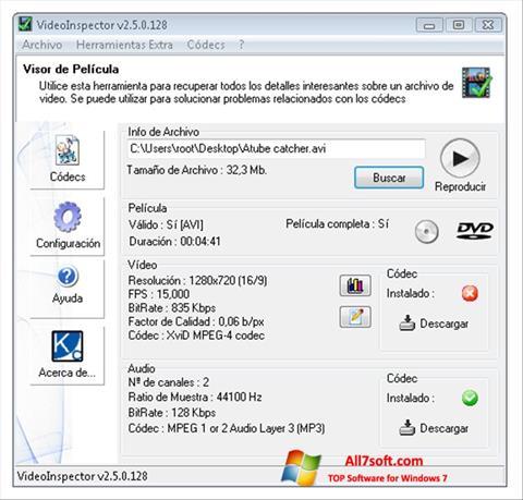 Skærmbillede VideoInspector Windows 7