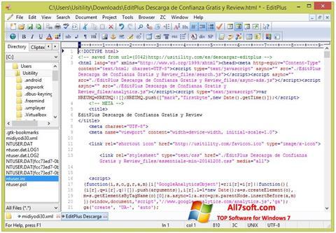 Skærmbillede EditPlus Windows 7