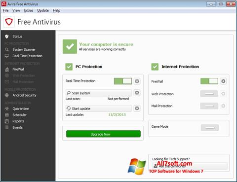 Skærmbillede Avira Free Antivirus Windows 7