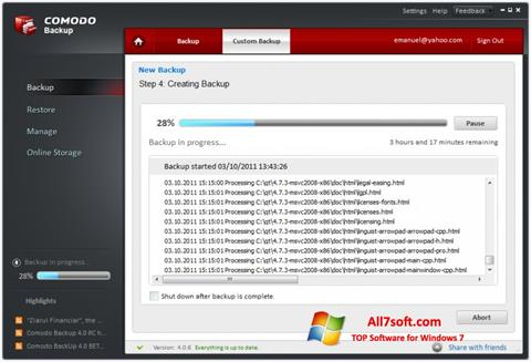 Skærmbillede Comodo BackUp Windows 7