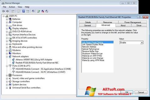 Skærmbillede REALTEK RTL8139 Windows 7