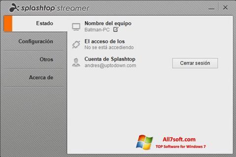 Skærmbillede Splashtop Streamer Windows 7