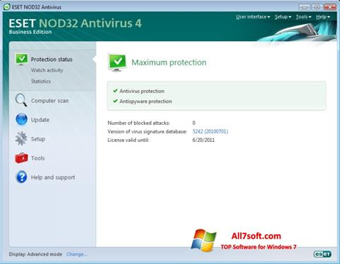 Skærmbillede ESET NOD32 Windows 7