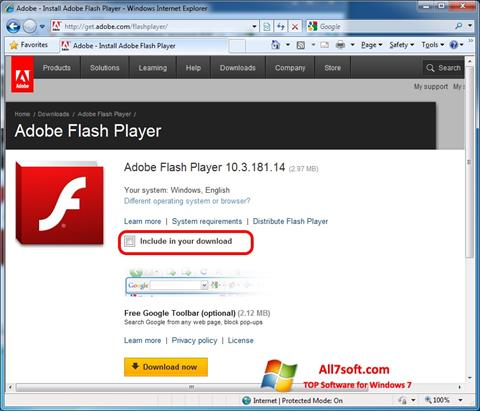 Skærmbillede Adobe Flash Player Windows 7