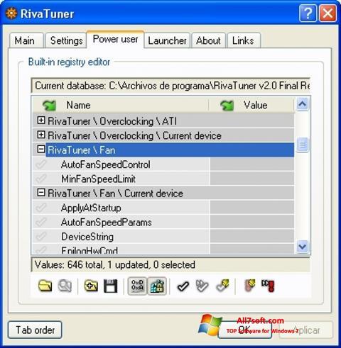 Skærmbillede RivaTuner Windows 7