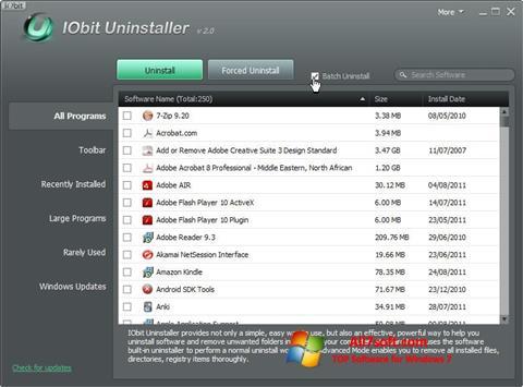 Skærmbillede IObit Uninstaller Windows 7
