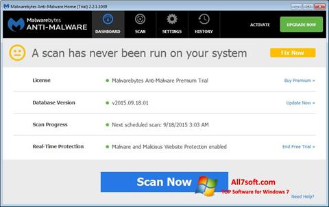 Skærmbillede Malwarebytes Anti-Malware Free Windows 7