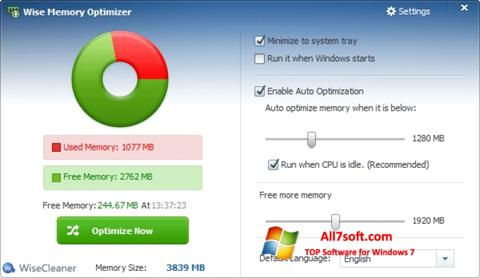 Skærmbillede Wise Memory Optimizer Windows 7