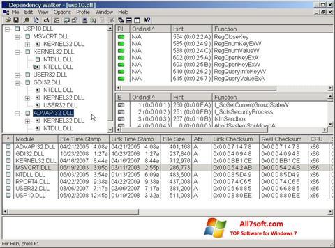 Skærmbillede Dependency Walker Windows 7