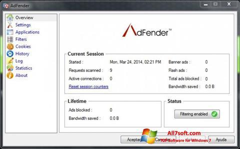 Skærmbillede AdFender Windows 7