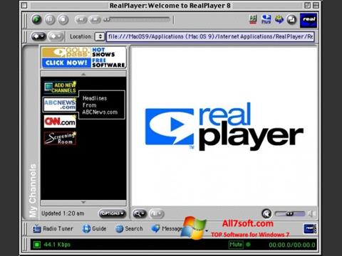 Skærmbillede RealPlayer Windows 7