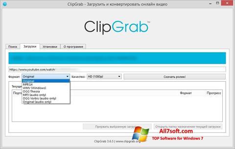 Skærmbillede ClipGrab Windows 7